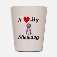 I Love My Showdog (ribbon) Shot Glass
