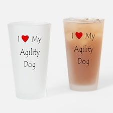 I Love My Agility Dog Drinking Glass