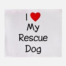 I Love My Rescue Dog Throw Blanket