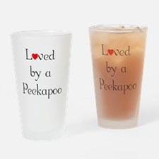 Loved by a Peekapoo Drinking Glass