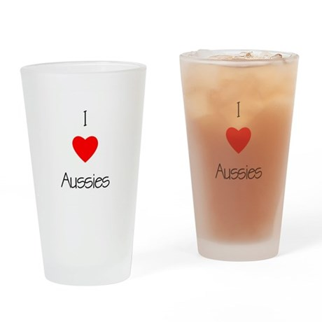 I Love Aussies Drinking Glass