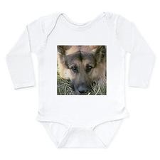 German Shepherd Dog Face (pho Long Sleeve Infant B