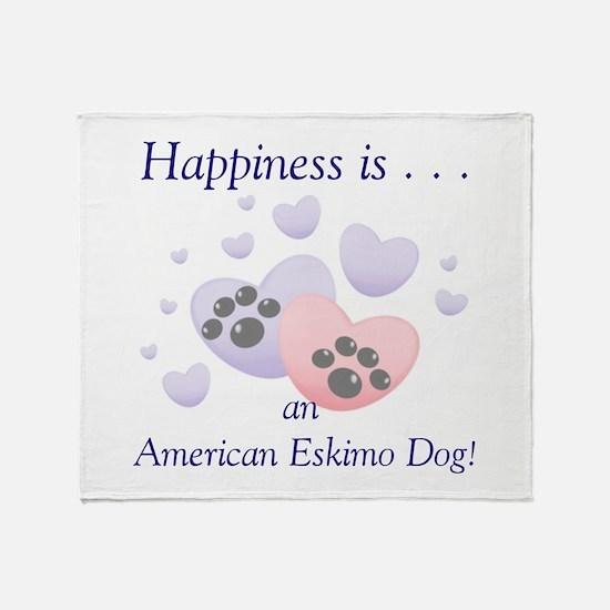 Cute American eskimo happiness Throw Blanket