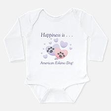 Cute American eskimo happiness Long Sleeve Infant Bodysuit