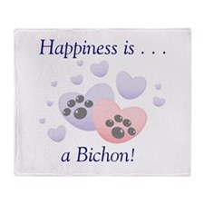 Happiness is...a Bichon Throw Blanket