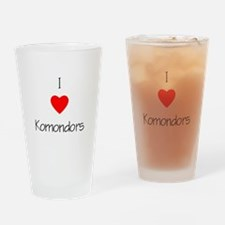 I Love Komondors Drinking Glass