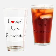Loved by a Komondor Drinking Glass