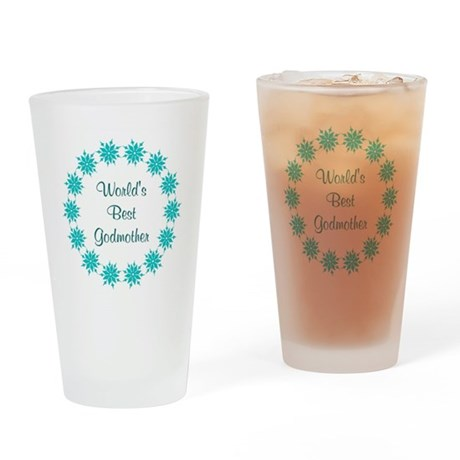 World's Best Godmother (teal) Drinking Glass