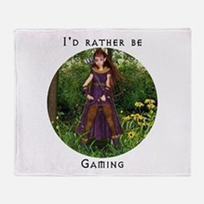 I'd rather be gaming Throw Blanket