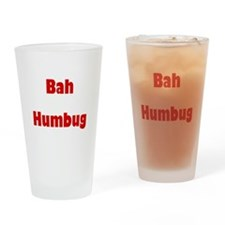 Bah Humbug (red) Drinking Glass