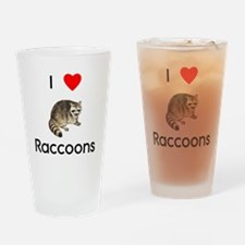 I Love Raccoons Drinking Glass