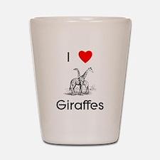 I Love Giraffes Shot Glass