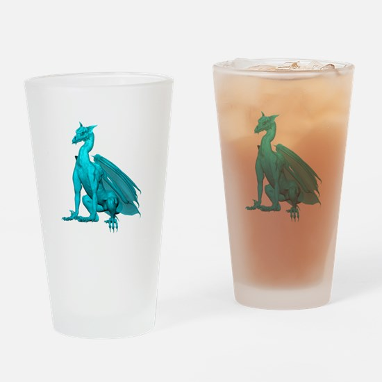Teal Sitting Dragon Drinking Glass