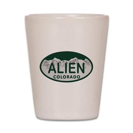 Alien Colo License Plate Shot Glass