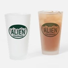 Alien Colo License Plate Drinking Glass