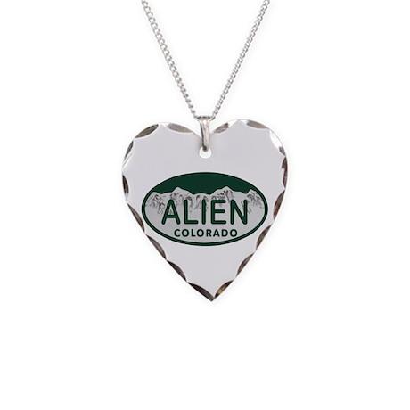 Alien Colo License Plate Necklace Heart Charm