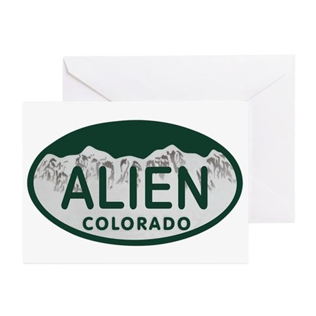 Alien Colo License Plate Greeting Cards (Pk of 10)