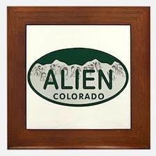 Alien Colo License Plate Framed Tile