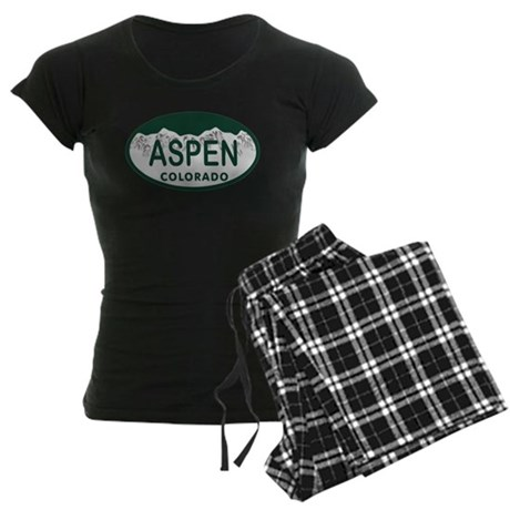 Aspen Colo License Plate Women's Dark Pajamas