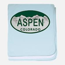 Aspen Colo License Plate baby blanket