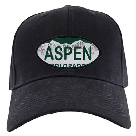 Aspen Colo License Plate Black Cap