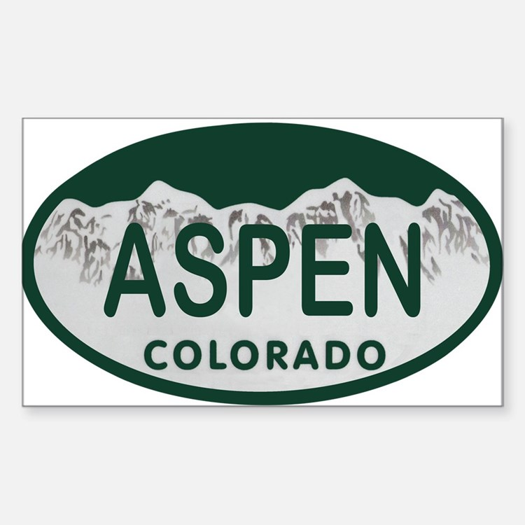 Aspen Colo License Plate Sticker (Rectangle)