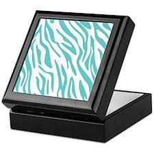 Teal and White Zebra Pattern Keepsake Box