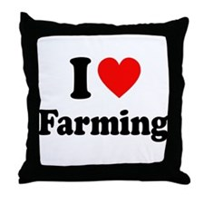 I Love Farming Throw Pillow