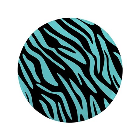 "Black and Teal Zebra Pattern 3.5"" Button"