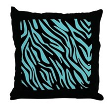 Black and Teal Zebra Pattern Throw Pillow