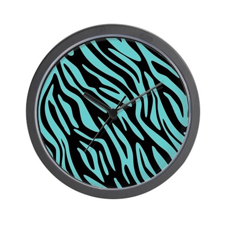 Black and Teal Zebra Pattern Wall Clock