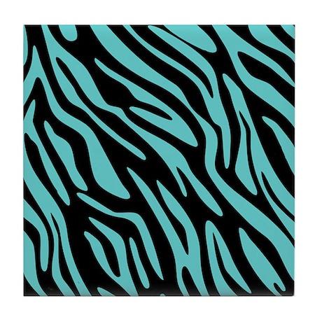 Black and Teal Zebra Pattern Tile Coaster