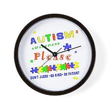 Autism Awareness- Don't Judge. Wall Clock
