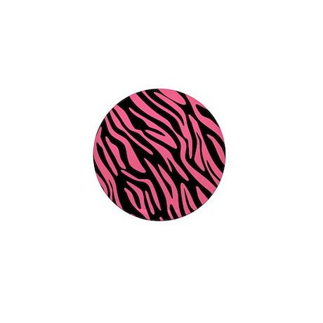 Black and Pink Zebra Pattern Mini Button