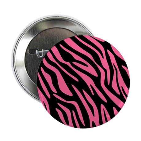 "Black and Pink Zebra Pattern 2.25"" Button"