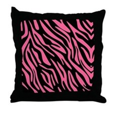 Black and Pink Zebra Pattern Throw Pillow