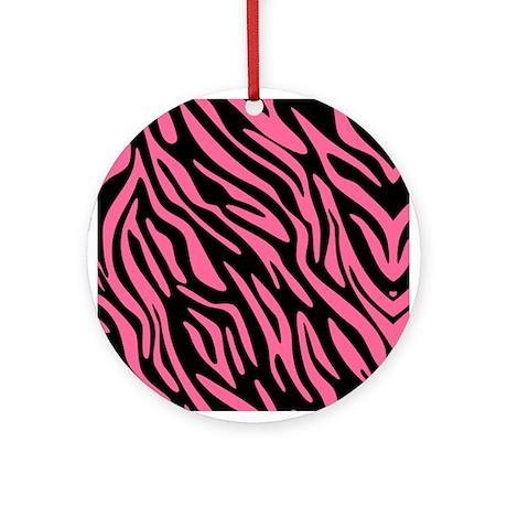 Black and Pink Zebra Pattern Ornament (Round)
