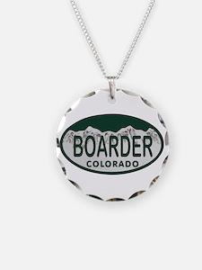 Boarder Colo License Plate Necklace