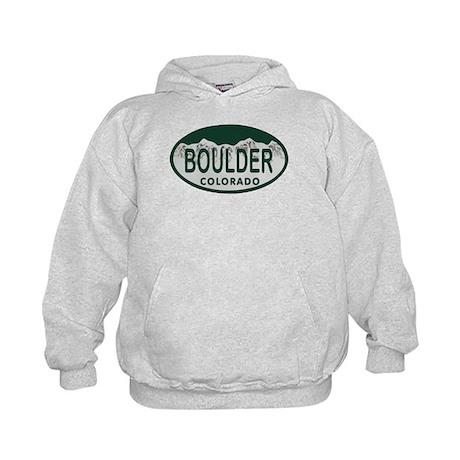 Boulder Colo License Plate Kids Hoodie