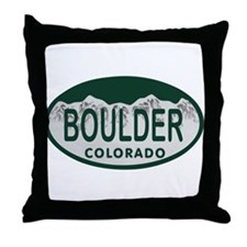 Boulder Colo License Plate Throw Pillow