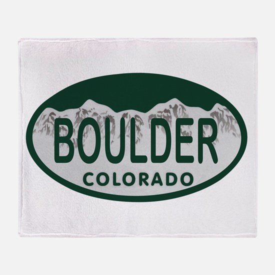 Boulder Colo License Plate Throw Blanket