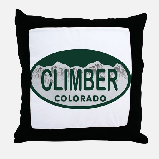 Climber Colo License Plate Throw Pillow