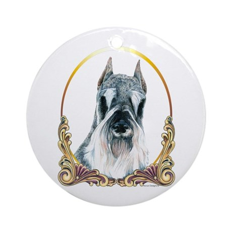 Christmas Holiday Schnauzer Ornament (Round)