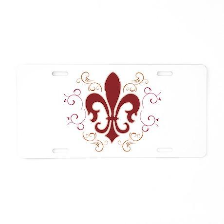 Fleur De Lis 2 Aluminum License Plate
