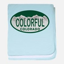 Colorful Colo License Plate baby blanket