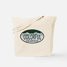 Colorful Colo License Plate Tote Bag