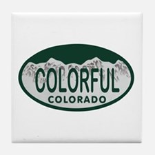 Colorful Colo License Plate Tile Coaster