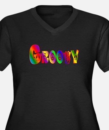 GROOVY Women's Plus Size V-Neck Dark T-Shirt