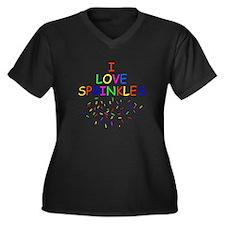 I Love Sprinkles Women's Plus Size V-Neck Dark T-S
