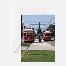 Red Streetcar Greeting Card